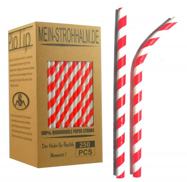 Biogradelable Paperstraws from Germany Color Red