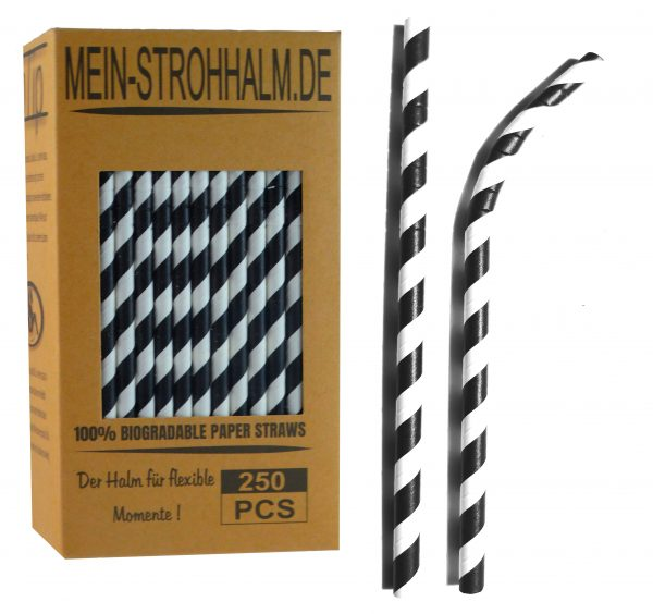 Biogradelable Paperstraws from Germany Color Black