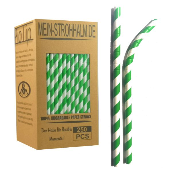 Biogradelable Paperstraws from Germany Color Green
